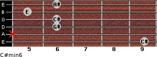C#min6 for guitar on frets 9, x, 6, 6, 5, 6