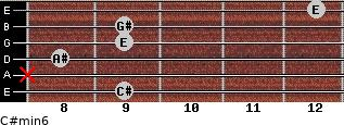 C#min6 for guitar on frets 9, x, 8, 9, 9, 12