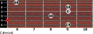 C#min6 for guitar on frets 9, x, 8, 9, 9, 6