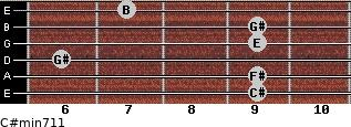 C#min7/11 for guitar on frets 9, 9, 6, 9, 9, 7