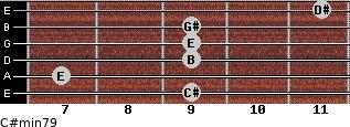 C#min7/9 for guitar on frets 9, 7, 9, 9, 9, 11