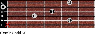 C#min7(add13) for guitar on frets x, 4, 2, 3, 0, 4