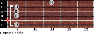 C#min7(add9) for guitar on frets 9, x, 9, 9, 9, 11