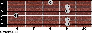 C#m(maj11) for guitar on frets 9, 9, 6, 9, 9, 8