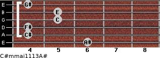 C#m(maj11/13)/A# for guitar on frets 6, 4, 4, 5, 5, 4
