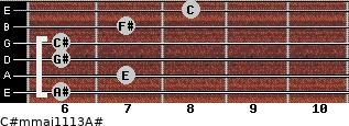 C#m(maj11/13)/A# for guitar on frets 6, 7, 6, 6, 7, 8
