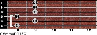 C#m(maj11/13)/C for guitar on frets 8, 9, 8, 9, 9, 9