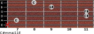 C#m(maj11)/E for guitar on frets x, 7, 11, 11, 9, 8