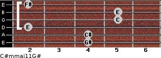 C#m(maj11)/G# for guitar on frets 4, 4, 2, 5, 5, 2