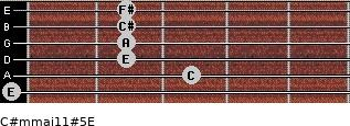 C#m(maj11)#5/E for guitar on frets 0, 3, 2, 2, 2, 2