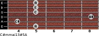 C#m(maj13)#5/A for guitar on frets 5, 4, 8, 5, 5, 5