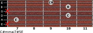 C#m(maj7)#5/E for guitar on frets x, 7, 10, x, 10, 9