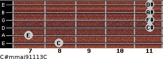 C#m(maj9/11/13)/C for guitar on frets 8, 7, 11, 11, 11, 11