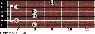C#m(maj9/11/13)/C for guitar on frets 8, 7, 8, 8, 7, 9