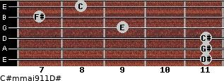 C#m(maj9/11)/D# for guitar on frets 11, 11, 11, 9, 7, 8