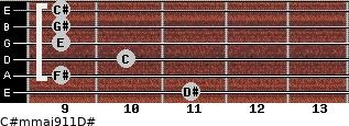 C#m(maj9/11)/D# for guitar on frets 11, 9, 10, 9, 9, 9