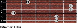 C#m(maj9/11)/G# for guitar on frets 4, 4, 1, 5, 5, 2