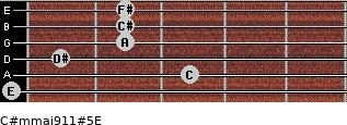 C#m(maj9/11)#5/E for guitar on frets 0, 3, 1, 2, 2, 2