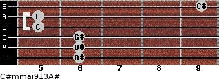C#m(maj9/13)/A# for guitar on frets 6, 6, 6, 5, 5, 9