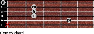 C#m#5 for guitar on frets x, 4, 2, 2, 2, 0