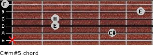 C#m#5 for guitar on frets x, 4, 2, 2, 5, 0