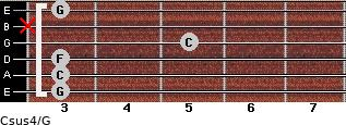Csus4\G for guitar on frets 3, 3, 3, 5, x, 3