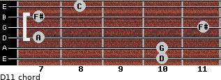 D11 for guitar on frets 10, 10, 7, 11, 7, 8