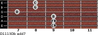 D11/13/Db add(7) guitar chord