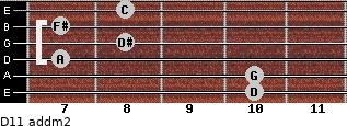 D11 add(m2) for guitar on frets 10, 10, 7, 8, 7, 8