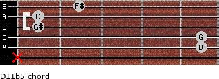 D11b5 for guitar on frets x, 5, 5, 1, 1, 2