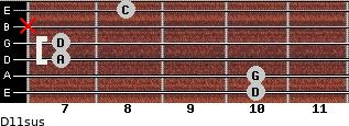 D11sus for guitar on frets 10, 10, 7, 7, x, 8