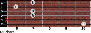 D-6 for guitar on frets 10, x, 7, 7, 6, 7