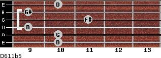 D6/11b5 for guitar on frets 10, 10, 9, 11, 9, 10