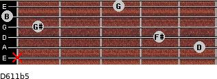 D6/11b5 for guitar on frets x, 5, 4, 1, 0, 3