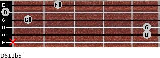 D6/11b5 for guitar on frets x, 5, 5, 1, 0, 2