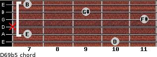 D6/9b5 for guitar on frets 10, 7, x, 11, 9, 7