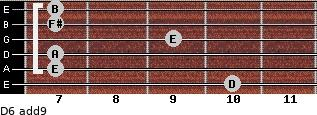 D6(add9) for guitar on frets 10, 7, 7, 9, 7, 7