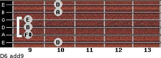 D6(add9) for guitar on frets 10, 9, 9, 9, 10, 10