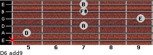 D6(add9) for guitar on frets x, 5, 7, 9, 7, 7