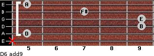 D6(add9) for guitar on frets x, 5, 9, 9, 7, 5