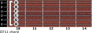 D-7/11 for guitar on frets 10, 10, 10, 10, 10, 10