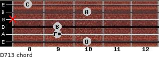 D7/13 for guitar on frets 10, 9, 9, x, 10, 8