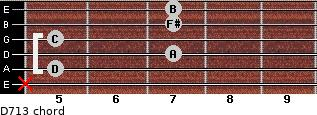 D7/13 for guitar on frets x, 5, 7, 5, 7, 7