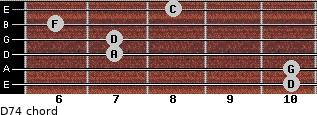 D-7/4 for guitar on frets 10, 10, 7, 7, 6, 8