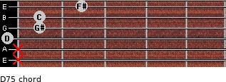 D7(-5) for guitar on frets x, x, 0, 1, 1, 2