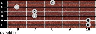 D-7(add11) for guitar on frets 10, 10, 7, 7, 6, 8