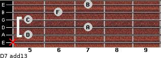 D-7(add13) for guitar on frets x, 5, 7, 5, 6, 7