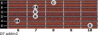 D7 add(m2) for guitar on frets 10, 6, 7, 7, 7, 8
