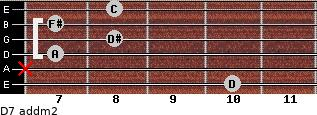 D7 add(m2) for guitar on frets 10, x, 7, 8, 7, 8