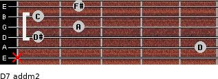 D7 add(m2) for guitar on frets x, 5, 1, 2, 1, 2